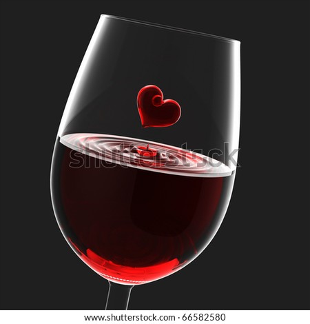 Heart symbol in wineglass, Valentine's Day - stock photo