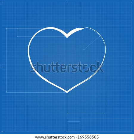 Heart symbol like blueprint drawing stylized stock illustration heart symbol like blueprint drawing stylized drafting of gift sign on blueprint paper illustration malvernweather Image collections