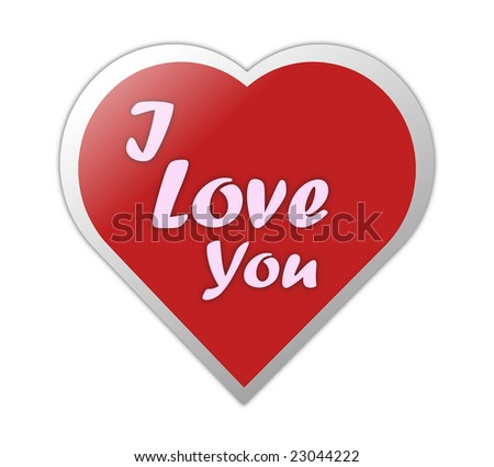 Heart Symbol With I Love You Written On It - stock photo
