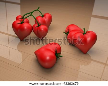 heart tomatoes - stock photo