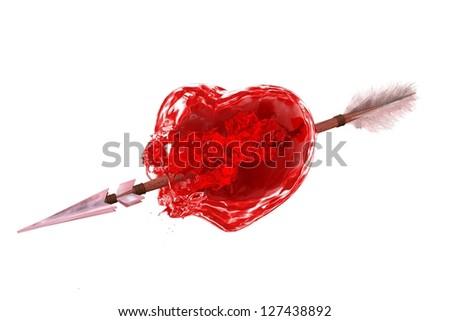 Heart Valentine's with Arrow - stock photo