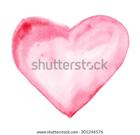 Heart. Watercolor drawing - stock photo