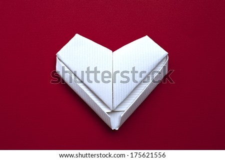 heart,white heart, paper heart, love, love you, I love you, valentines postcard, red background - stock photo