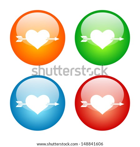 Heart with Arrow Icon Colorful Glass Button Icon Set.  Raster version, vector also available. - stock photo