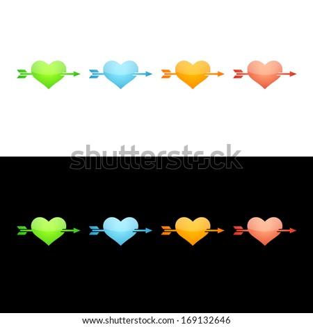 Heart with Arrow Icon.  Glossy Icon Set.  Raster version. - stock photo