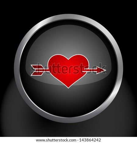 Heart with Arrow Icon Symbol  - Raster Version, Vector Also Available. - stock photo