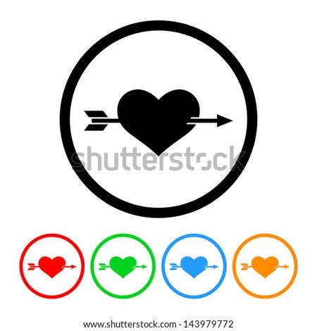 Heart with Arrow Icon with Four Color Variations - Raster Version.  Vector Also Available. - stock photo