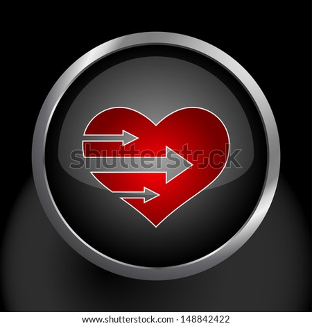 Heart with Arrows Icon Symbol. Raster version, vector also available. - stock photo