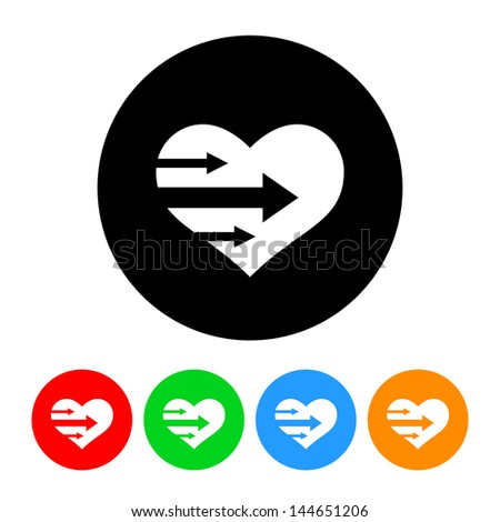 Heart with Arrows Icon with Color Variations.  Raster version, vector also available. - stock photo
