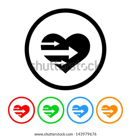 Heart with Arrows Icon with Four Color Variations - Raster Version.  Vector Also Available. - stock photo