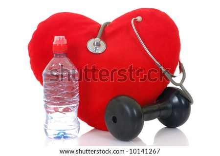 Heart with bottle and stethoscope isolated on white background - stock photo