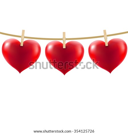 Heart With Clothespegs  - stock photo