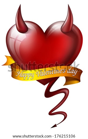 heart with diabolical properties with sash and message for Valentine's Day  - stock photo