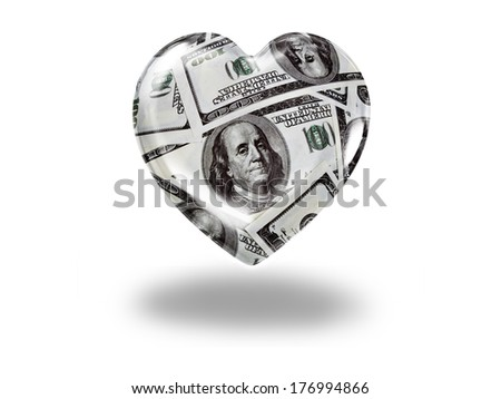 Heart with 100 dollar bills - paying for love concept - stock photo