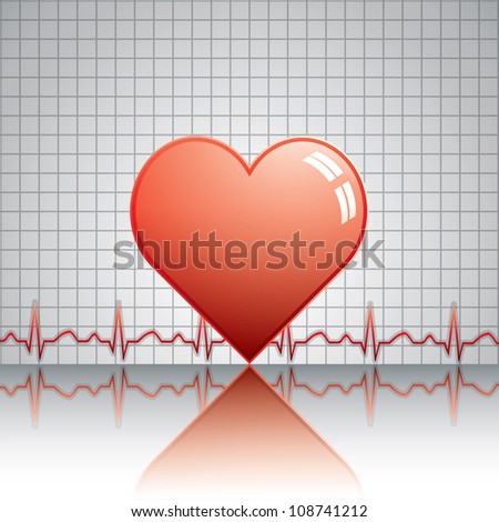 Heart with ekg.Medical