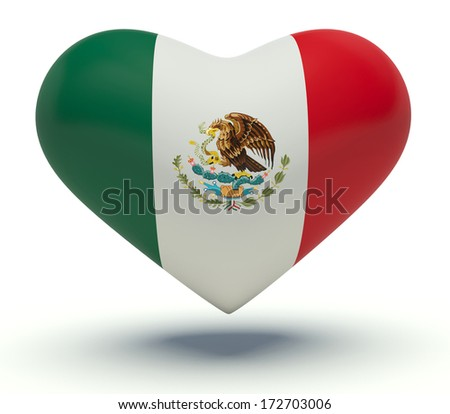 Heart with Mexico flag colors. 3d render illustration.