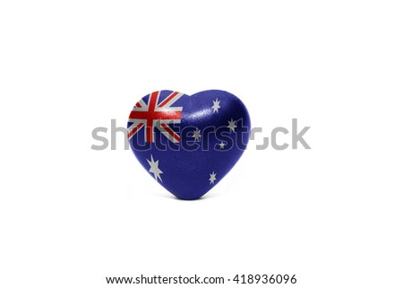 heart with national flag of australia on the white background - stock photo