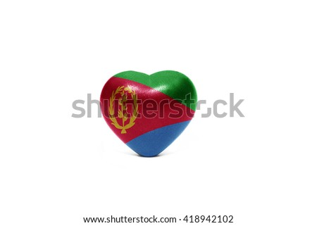 heart with national flag of eritrea on the white background - stock photo