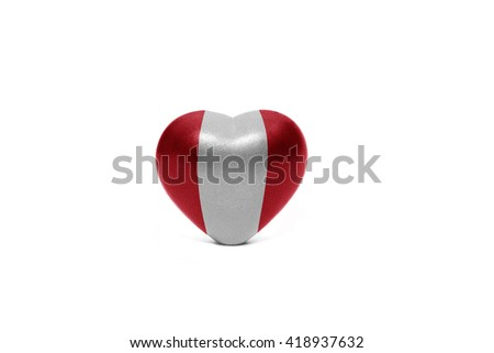 heart with national flag of peru on the white background - stock photo