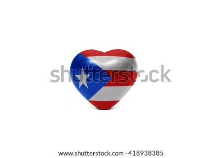 heart with national flag of puerto rico on the white background
