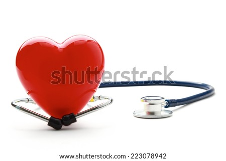 Heart With Plaster, Isolated On White Background - stock photo