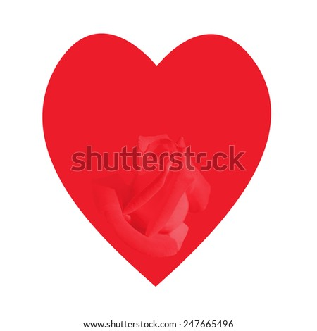 heart with rose bud on a white background - stock photo