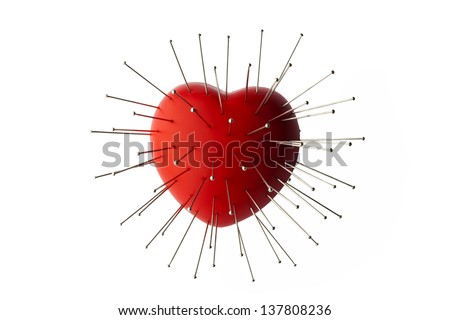 Heart with Straight Pin - stock photo