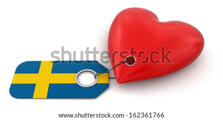 Heart with Swedish flag (clipping path included)