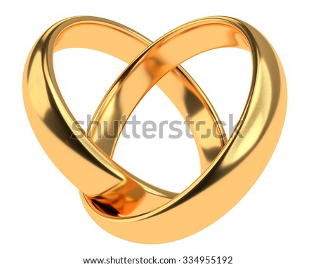 Heart with two connected gold wedding rings isolated on white - stock photo