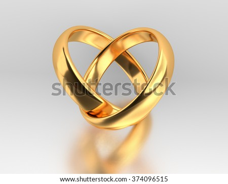 Heart Two Connected Gold Wedding Rings Stock Illustration 374096515