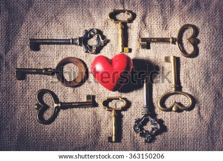 heart with vintage keys - stock photo