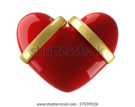 Heart with wedding rings on a white background. 3D image. - stock photo
