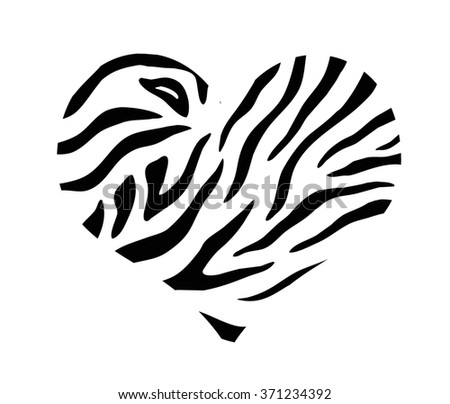 Heart with zebra print texture pattern