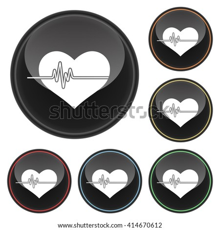 Heartbeat Heart Icon Glossy Button Icon Set in With Various Color Highlights.  Raster Version - stock photo