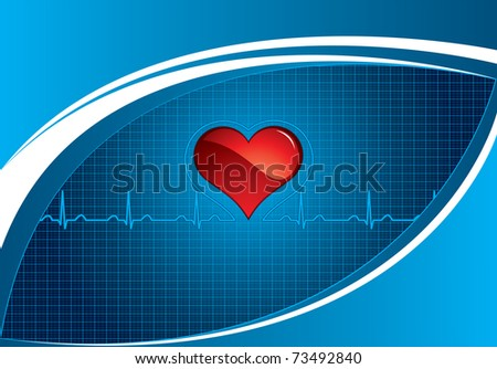 Heartbeat on blue medical background