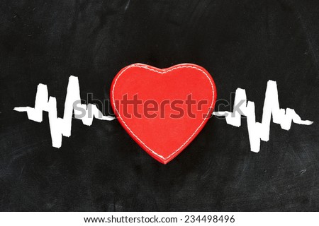 Heartbeat sign, love heart on a chalkboard