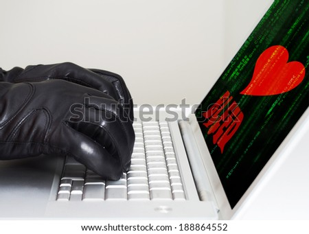 Heartbleed exploit concept with hands wearing black gloves - stock photo