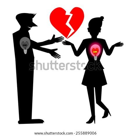 Heartbreak, Silhouette Illustration - stock photo