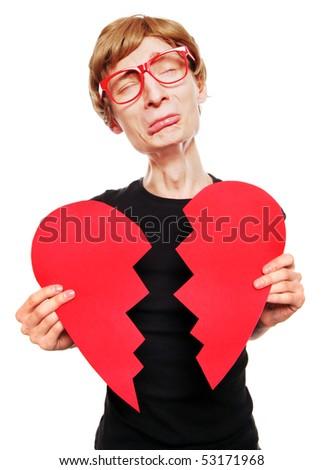 Heartbroken nerd - stock photo