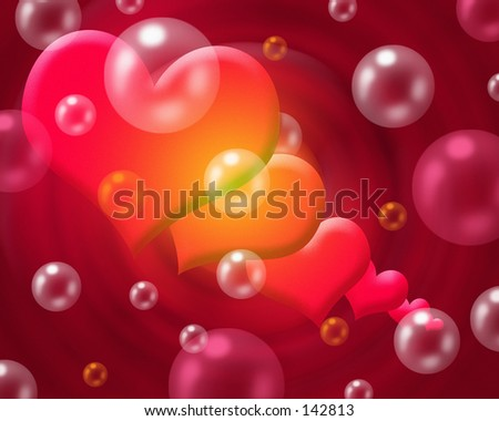 Hearts and Bubbles - stock photo