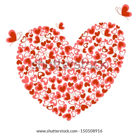 Hearts and butterfly. Raster copy - stock photo