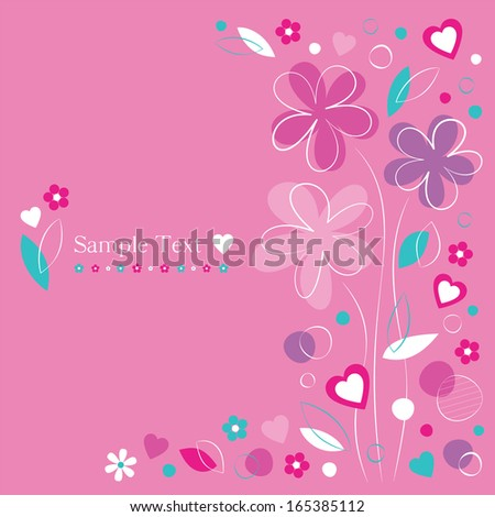 hearts and flowers greeting card on pink background - stock photo