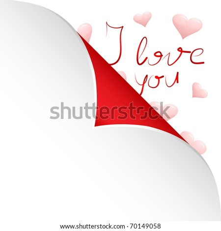Hearts and words I love you under sticky paper on the white background and space for your text - stock photo
