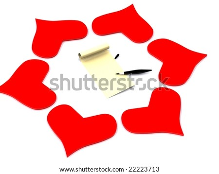 hearts around letter. 3d