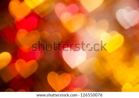 hearts background from golden and red color - stock photo