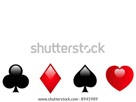 hearts, clubs, diamonds and clubs glossy buttons - stock photo