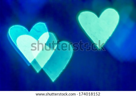hearts, colorful background, out of focus - stock photo