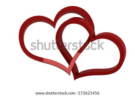 Hearts cross - Isolated render on white background - stock photo