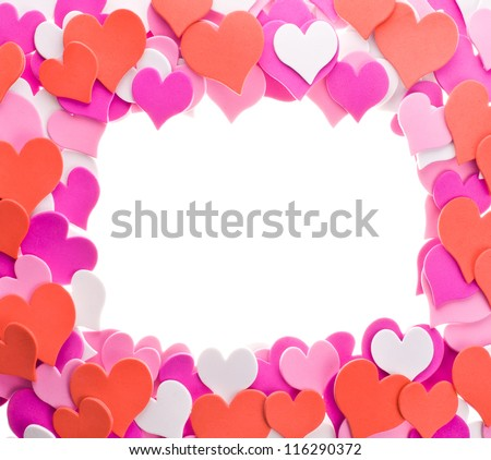 hearts in different colors. laid out in the form of ornament as a frame. isolated on white background - stock photo