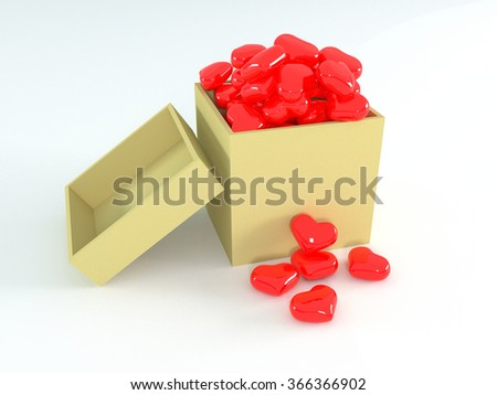 Hearts in yellow box. 3d illustration - stock photo